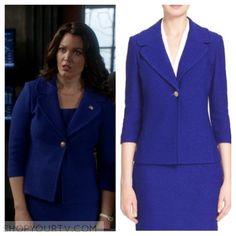 Scandal: Season 5 Episode 21 Mellie's Blue Textured Knit Jacket