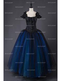 Romantic Gothic Cap Sleeves Blue Corset Long Prom Party Dress - Devilnight.co.uk