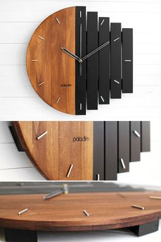 exceptional wall clock außergewöhnliche Wanduhr-Designs unusual wall clock designs This title summarizes wall clocks in different styles and designs. Wall clocks in metal, wood, modern and elegant style we … house decoration - Diy Clock, Clock Decor, Diy Wall Clocks, Clock Ideas, Kitchen Wall Clocks, Diy Wall Art, Diy Wall Decor, Home Decor, Art Mural Palette