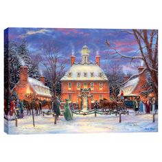Cortesi Home is proud to present 'The Governor's Party' by Chuck Pinson. It features a lively village scene of the historic governor's mansion of colonial Williamsburg in Virginia. It is a abstract an