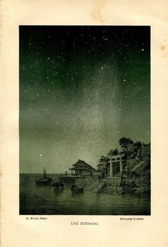 1893 Antique Astronomy Print Zodiacal Light by CarambasVintage, $25.00