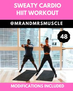 Sweaty Cardio HIIT Workout Drive up your heart rate, burn fat and break a huge sweat in this awesome Cardio Workout - Beginner modifications included! Hiit Workout Videos, Full Body Hiit Workout, Hitt Workout, Gym Workout Tips, Fitness Workout For Women, Workout For Beginners, Yoga Fitness, Hiit Beginner, Best Cardio Workout