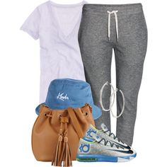 A fashion look from August 2014 featuring J.Crew t-shirts, H&M activewear pants and ALDO shoulder bags. Browse and shop related looks.