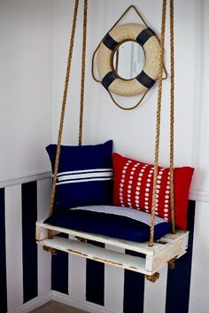 Repurposed small wood pallet recycled into porch swing, nautical beach style; Upcycle, recycle, salvage, diy, repurpose! For ideas and goods shop at Estate ReSale & ReDesign, Bonita Springs, FL