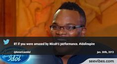 January 30th, 2013: Micah's performance at American Idol last night marked memories, more than 1500 retweets in Canada to support him - #Seevibes #TopRetweet #Twitter #AmericanIdol - https://twitter.com/AmericanIdol/status/296808875162750976