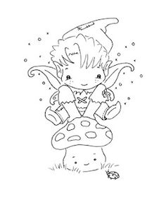 Sliekje digi Stamps elf on mushroom