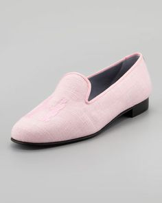 Hadleigh's Audrey Linen Smoking Loafer, Pink - Neiman Marcus - <3 the H