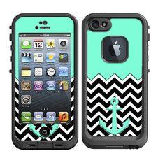Skins FOR the Lifeproof iPhone 5 Case - Black and White on Blue Chevron pattern Anchor - Free Shipping - Lifeproof Case NOT included on Etsy, $9.95