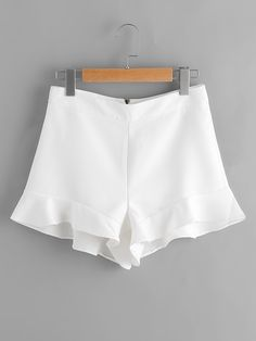 Shop Frill Hem Zipper Back Shorts online. SheIn offers Frill Hem Zipper Back Shorts & more to fit your fashionable needs. Frill Shorts, Linen Shorts, Short Elegantes, Short Outfits, Cute Outfits, Short Skirts, Short Dresses, Black Milk Clothing, Stockings Lingerie
