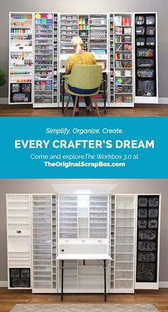 Diy Discover The workstation you thought only existed in your DREAMS! Craft Room Storage Craft Organization Organizing Space Crafts Home Crafts Easy Craft Projects Sewing Rooms Diy Furniture Home Goods Craft Room Storage, Craft Organization, Organizing, Kitchen Storage, Space Crafts, Home Crafts, Diy Crafts, Craft Room Design, Easy Craft Projects