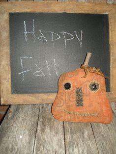 Primitive Fall Pumpkin Feed Sack Homespun | eBay