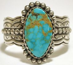 Old Pawn Navajo Mountain Turquoise Sterling Silver Cuff Bracelet - Lloyd Nelson.