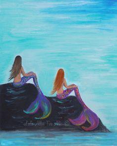 Mermaid Mermaids Art Print Giclee Blonde by LeslieAllenFineArt
