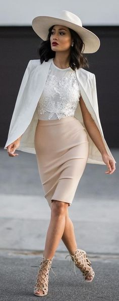 White Hat, Blazer and Lace Top + Nude Midi Skirt And Caged Heels | Micah Gianneli