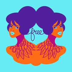 Free  Retro Girl and Feathers Tattoo Art Print by thepairabirds, $15.00