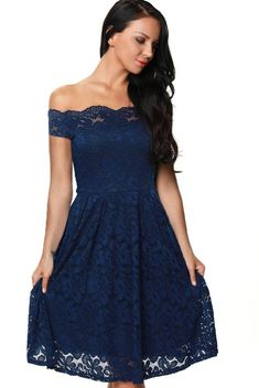 Blue Off Shoulder Flared Lace Plus Size Party Cocktail Dress