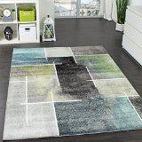 Designer Teppich Kariert Modern Trendig Meliert Eyecatcher in Grau Türkis Grün Grösse:120170 cm