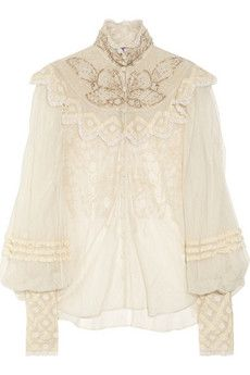 Ralph Lauren Collection Therese embellished silk-tulle blouse   NET-A-PORTER