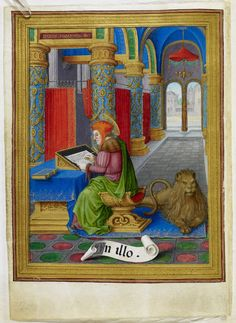 Sforza Hours Miniature of St Mark and his lion at the beginning of the Gospel excerpts, Add MS 34294, f. 10v - See more at: http://britishlibrary.typepad.co.uk/digitisedmanuscripts/illuminated-manuscripts/page/3/#sthash.fJxz8r5T.dpuf