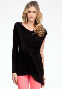 Bebe Draped Asymmetric Top Knit Tops Blk-xxs