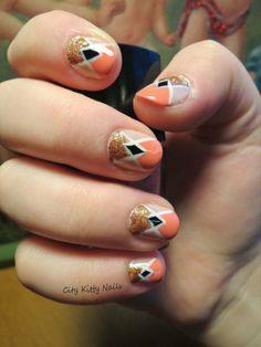 Geometric Valentines Day Nails!