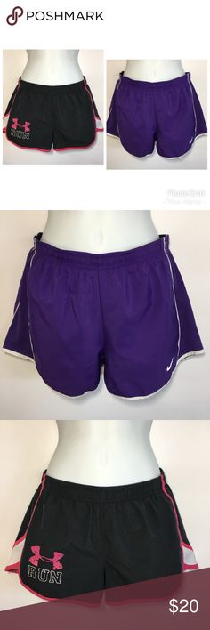 Bundle 2 Pair Running Shorts xs nike under Armour 2 womens size xs shorts. The first one is from Under Armour and the style on the tag says Loose. It has an inner liner in excellent condition. The second pair is nike 2 in 1 tempo running short. These have compression shorts underneath that are built in but the bottoms of the compression shorts have been cut off because they were too restrictive. You could remove them entirely by cutting it off. The outer shorts are in great condition. These…