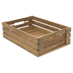 Indoor/outdoor teak wood crate with slatted sides.  Product: Apple crateConstruction Material: Teak wood