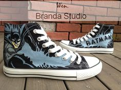 f5171b9cd49 Christmas Gifts-Bat Man Hand Painted Shoes High Top 52.99Usd