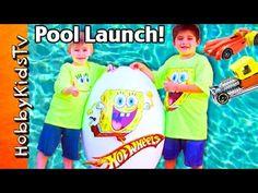 Giant Spongebob Hot Wheels Race Track Pool Launch! Huge Kinder Surprise Eggs by HobbyKidsTV - YouTube