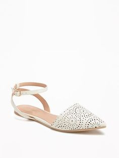 Laser-Cut D'Orsay Flats || White