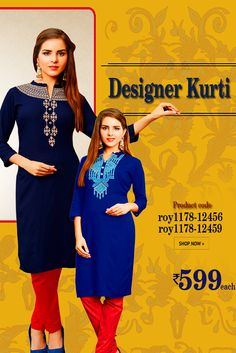 Designer Rayon #Kurti This kurti has got intricate thread and zari work along the neckline area and is a must have in your closet for trendy #casualwear. #womanwear #casualwear #shopping #casualoutfit #dailywear #newdesigns #onlinekurti #thechoiceisyours