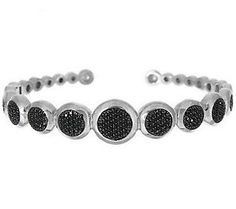 1.40 ct tw Black Spinel Pave' Circle Sterling Hinged Cuff