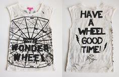 BETSEY JOHNSON WONDER WHEEL T-SHIRT Deconstructed Graphic Tee XS Top #BetseyJohnson #KnitTop #Any