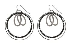 Checkout this amazing deal Black and Silver Hoop Earrings,$24