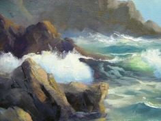 ROBERT-WEE-Listed-California-Impressionist-Original-Seascape-Oil-Painting