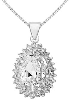 Tuscany Silver Sterling White Cubic Zirconia Cer Teardrop Pendant On Chain Necklace Of 46cm