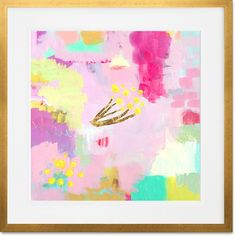 'Raspberry Lemonade with Billy Buttons' Framed Painting Print