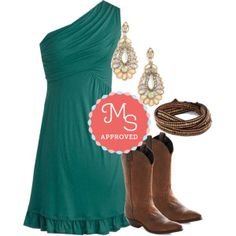 Midnight Sundress in Teal, Vintage Line Dance Boogie Boot, Wrapped Up in Whimsy Bracelet, Apricot Blossom Earrings    #teal #cowboyboots #wrapbracelet