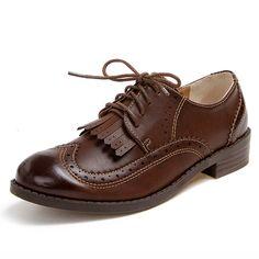 Mulher Estilo britânico Sapatos Oxford Brogues sapatos de Couro Macio mulheres Borlas Do Vintage 2016 lace up flats zapatillas mujer XK082611 em Apartamentos das mulheres de Sapatos no AliExpress.com | Alibaba Group