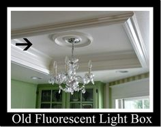 Kitchen tour:: light box turned tray ceiling feature for chandelier!