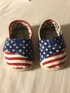 Tiny Toms American Patriotic Shoes Baby Boy Girl 3 Red White Blue Stars Stripes