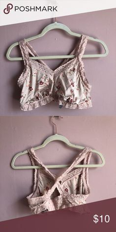 52add6d442dc6 Aerie cross back bralette Aerie silky bralette with delicate flower and lace  details. Hook closure