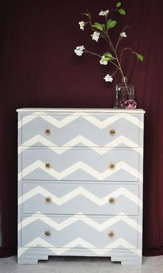 chevron painted furniture. Add Pizazz To Dull Furniture By Painting It Chevron | The Bedroom Pinterest Dresser, Dressers And Room Painted E