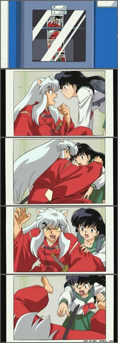 "Consequences of Kagome fighting with InuYasha in a photobooth: 1.) They fight. 2.) He protects her from the flash. 3.) He tries to attack the camera. 4.) Kagome subjugates him to ""sit"" - screenshots from InuYasha"