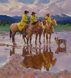 """""""Waitin' On The Boss"""" by R. S. Riddick, CAA 60"""" high X 54"""" wide SOLD - Wood River Fine Arts"""