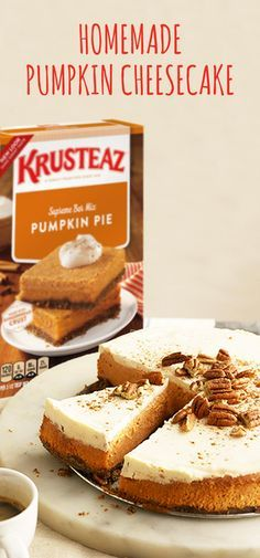 You're known for your delicious, traditional Thanksgiving desserts—and this Homemade Pumpkin Cheesecake recipe is no exception! Using the newly packaged Krusteaz Pumpkin Pie Bar Mix you can easily infuse your homemade fall treats with the same great flavor you love in a unique and creamy way.