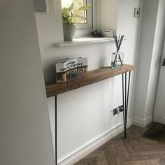 Narrow console table with hairpin legs wooden rustic hallway Rustic Hallway Table, Rustic Console Tables, Narrow Console Table, Entryway Tables, Victorian Terrace Hallway, Tables Étroites, Hallway Designs, Hairpin Legs, Modern Country