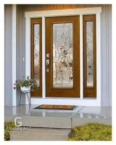 ODL makes door glass, door blinds for entry doors. Wooden Main Door Design, Room Door Design, Door Design Interior, Wooden Glass Door, Stained Glass Door, House Front Design, Cool House Designs, Exterior Doors With Glass, Design Case