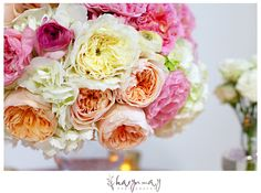 garden rose, hydrangea and ranunculus compote centerpiece photographed by Karyn May