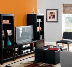 orange and light grey. #tvroom